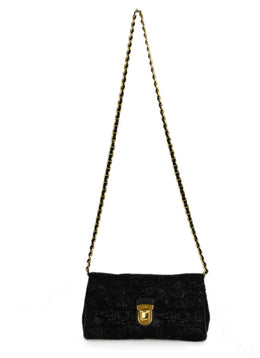 Prada Black Lurex Floral Crossbody Handbag 1