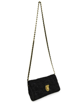 Prada Black Lurex Floral Crossbody Handbag 2