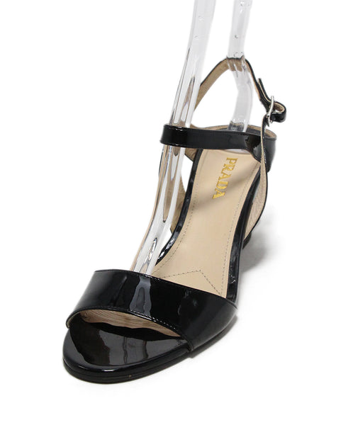 Prada black patent leather sandals 1
