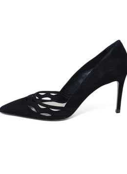 Prada Black Perforated Suede Heels 2
