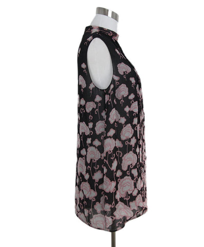 Prada black pink print sleeveless top 1
