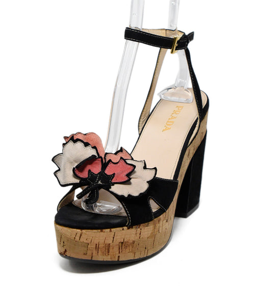 Prada Black Pink Suede Cork Wedge Heels 1