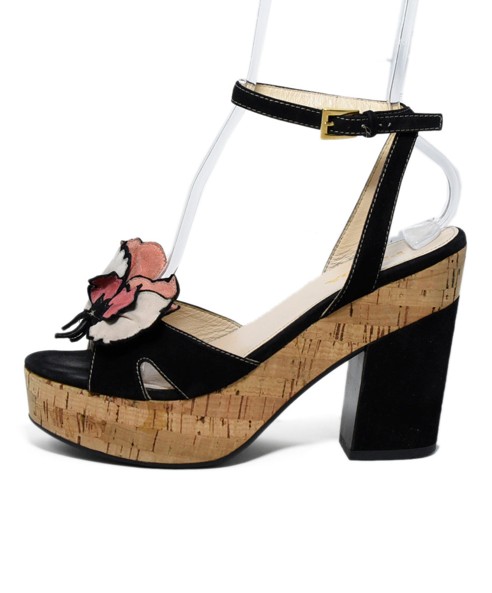 Prada Black Pink Suede Cork Wedge Heels 2