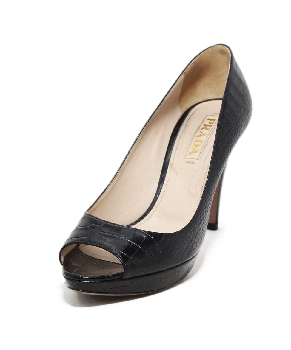 Prada black pressed leather heels 1