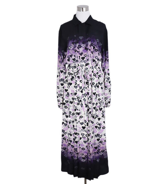 Prada Black Purple Lip Heart Print Silk Dress 1