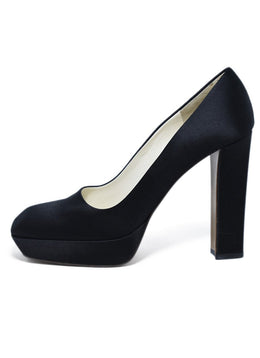 Prada Platform Black Satin Square Toe Heels 2