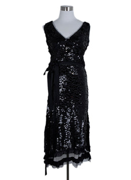 Prada Black Sequins Floral Detail Evening Dress 1