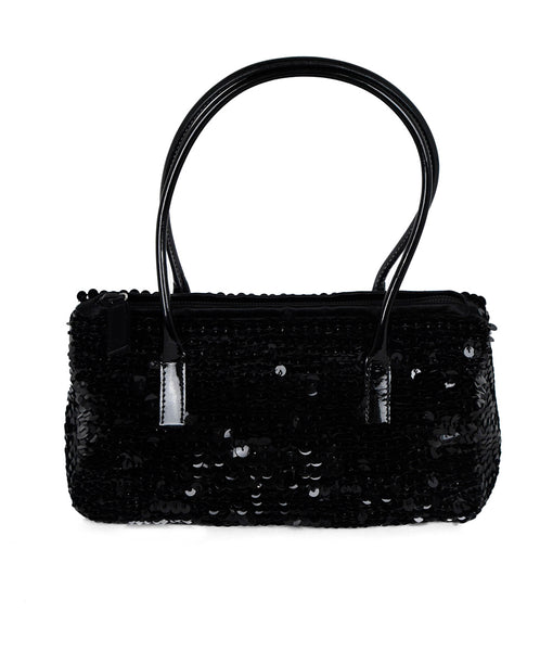 Prada Black Sequins Satchel Handbag 1