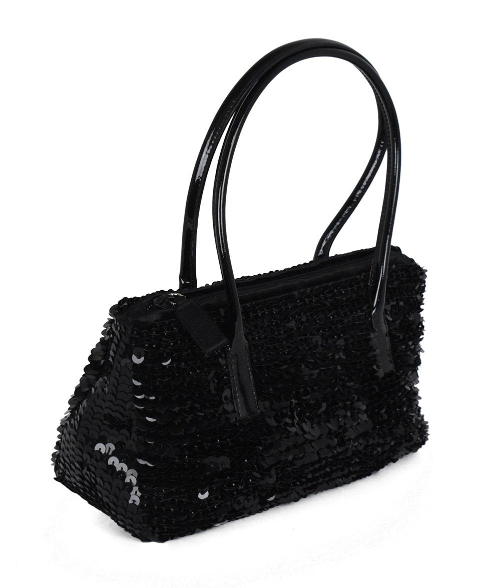 Prada Black Sequins Satchel Handbag 2