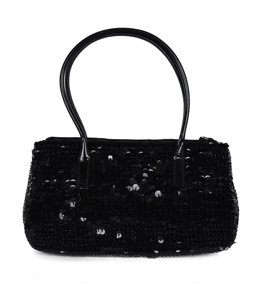 Prada Black Sequins Satchel Handbag 3
