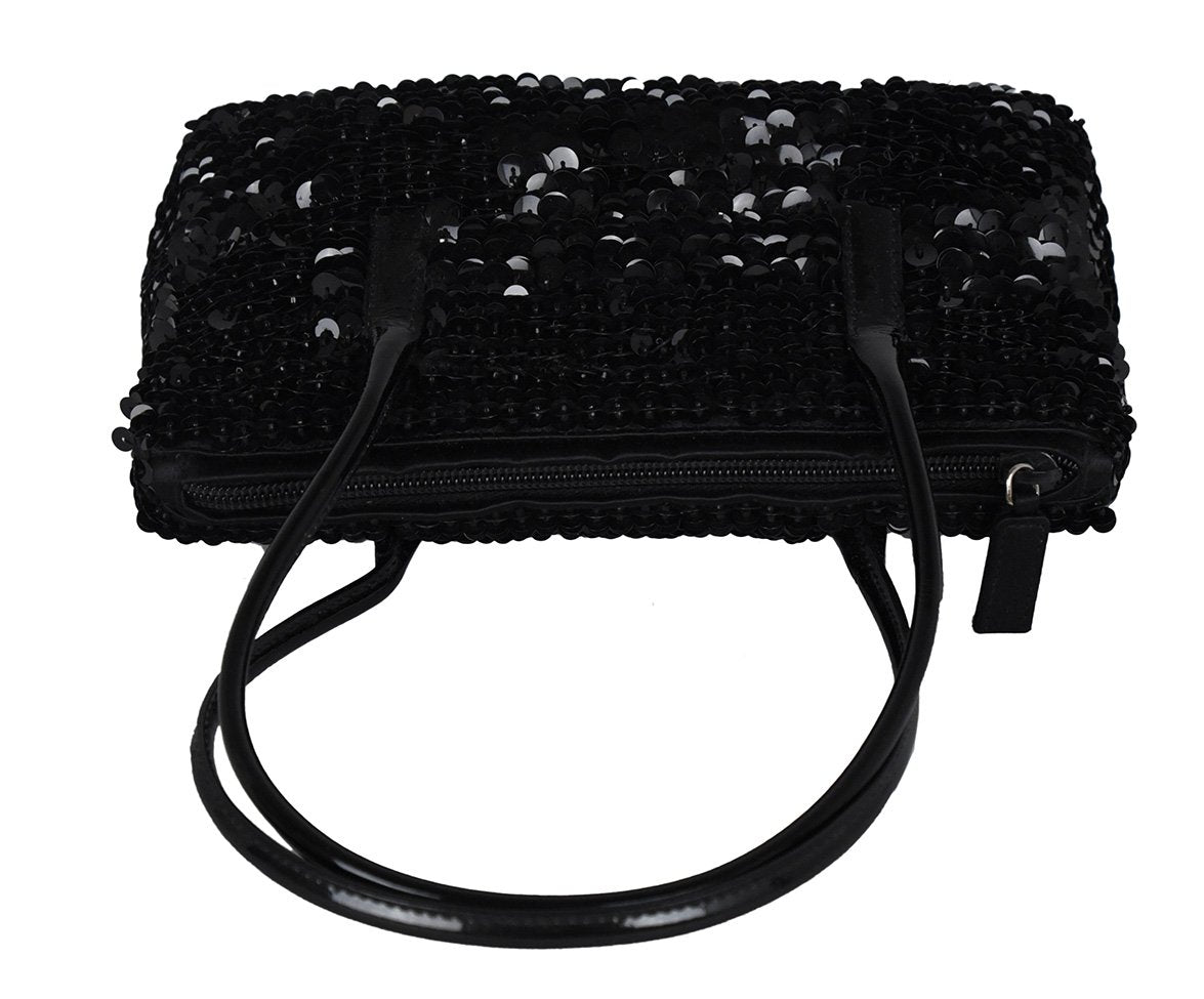 Prada Black Sequins Satchel Handbag 5