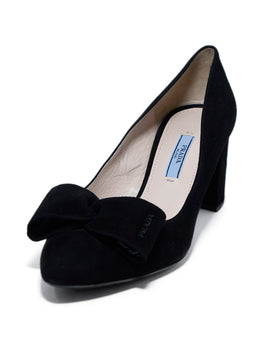 Prada Black Suede Bow Trim Heels 1