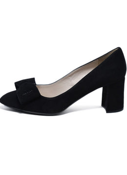 Prada Black Suede Bow Trim Heels 2