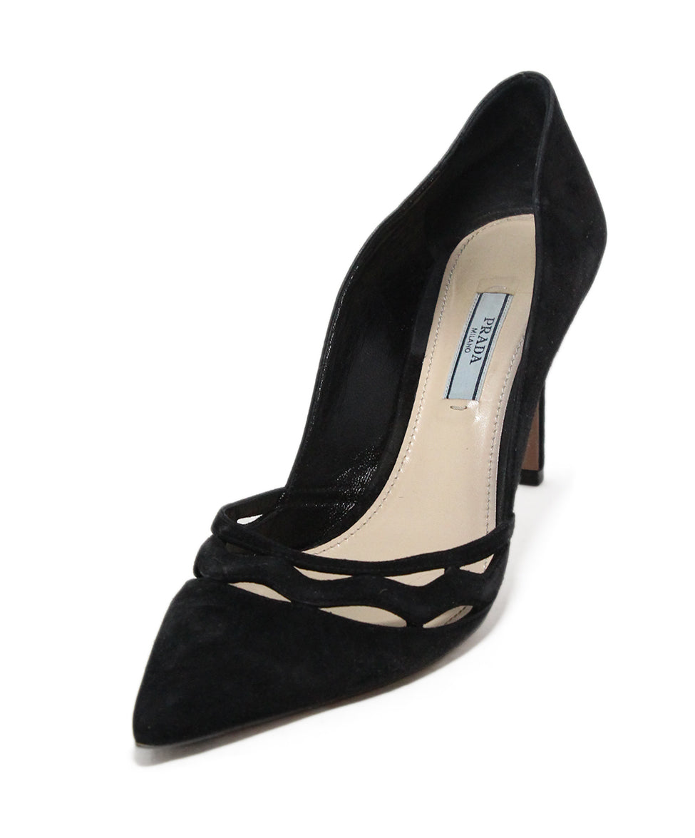 Prada Heels US 8.5 Black Suede Cutouts Shoes - Michael s Consignment NYC 5ce1c81ab