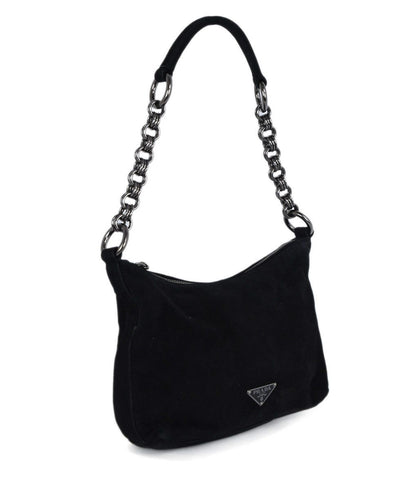 Prada Black Suede Shoulder Bag Handbag 1