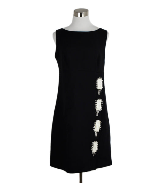 Prada Black Wool Rhinestone Dress 1