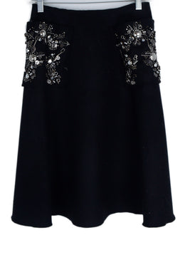 Prada Black Wool Silver Embellishment Skirt 1