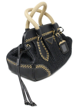Prada Black Woven Straw and Leather Eyelet Frame Satchel