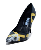 Prada Black Yellow White Print Leather Heels 1