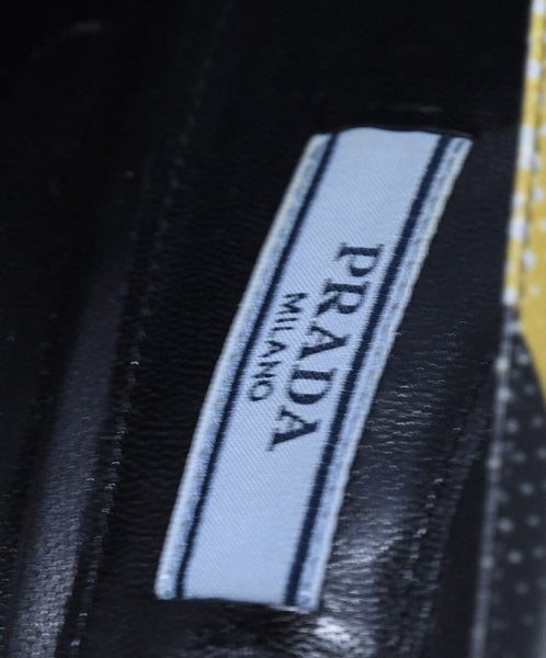Prada Black Yellow White Print Leather Heels 7