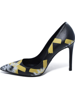 Prada Black Yellow White Print Leather Heels 2