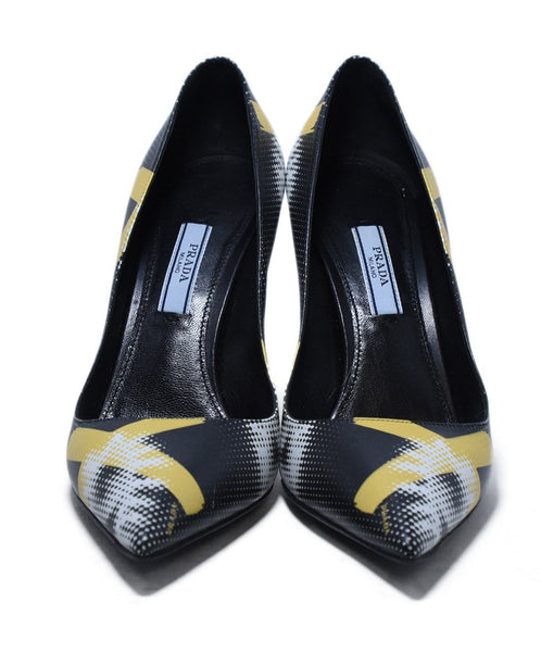 Prada Black Yellow White Print Leather Heels 4