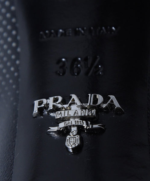 Prada Black Yellow White Print Leather Heels 6