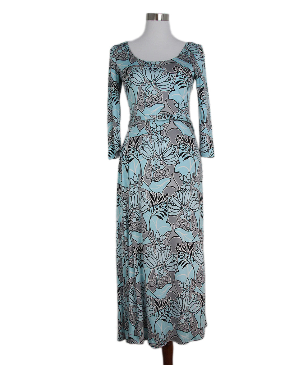 Prada blue grey print dress with belt 1