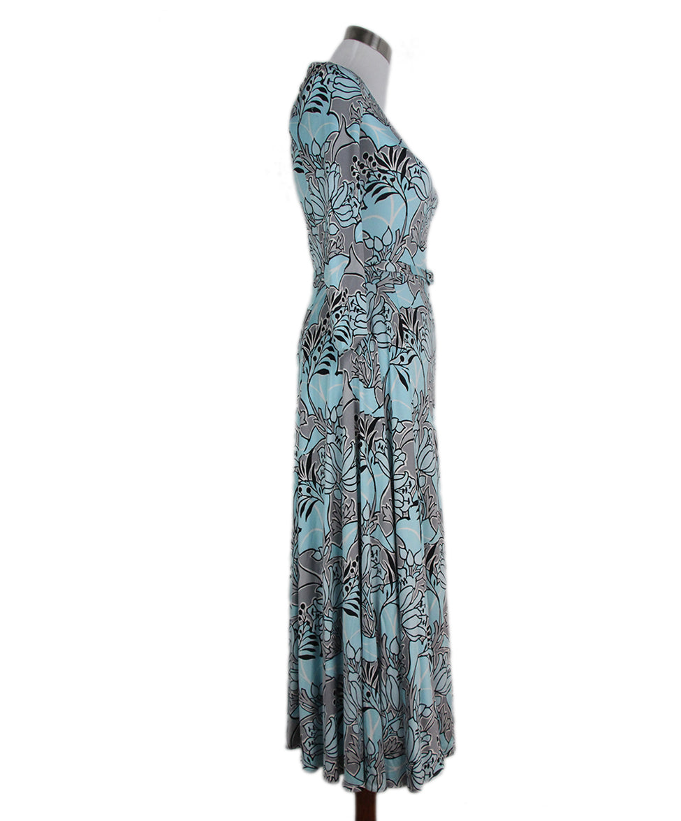 Prada blue grey print dress with belt 2