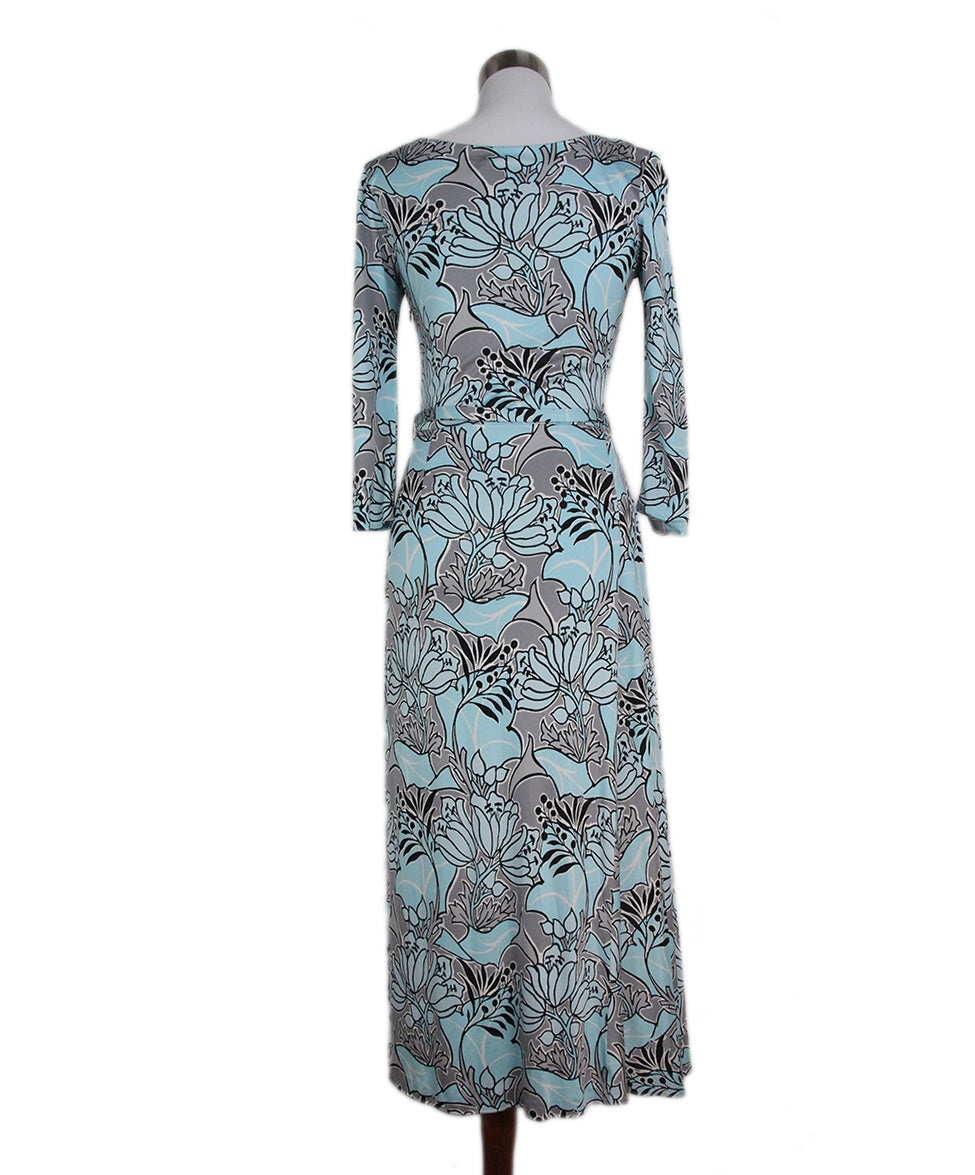 Prada blue grey print dress with belt 3