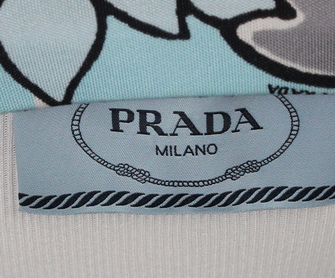 Prada blue grey print dress with belt 4