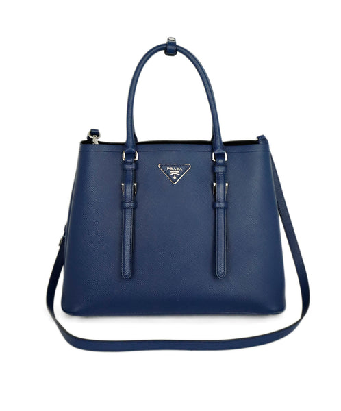 Prada Blue Leather Satchel Handbag 1