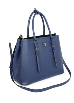 Prada Blue Leather Satchel Handbag 2