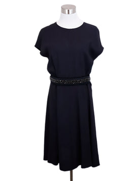 Prada Blue Navy Cotton Black Rhinestones Belt Dress 1