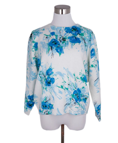 Prada Blue White Floral Wool Mohair Sweater 1