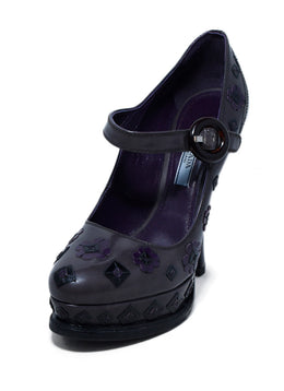 Prada Brown Grey Purple Leather Maryjane Heels 1