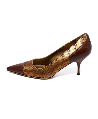 Prada Brown Leather Copper Sequins Heels 1
