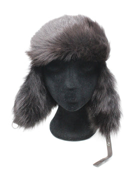 Prada Brown Leather Fur Hat Sz M