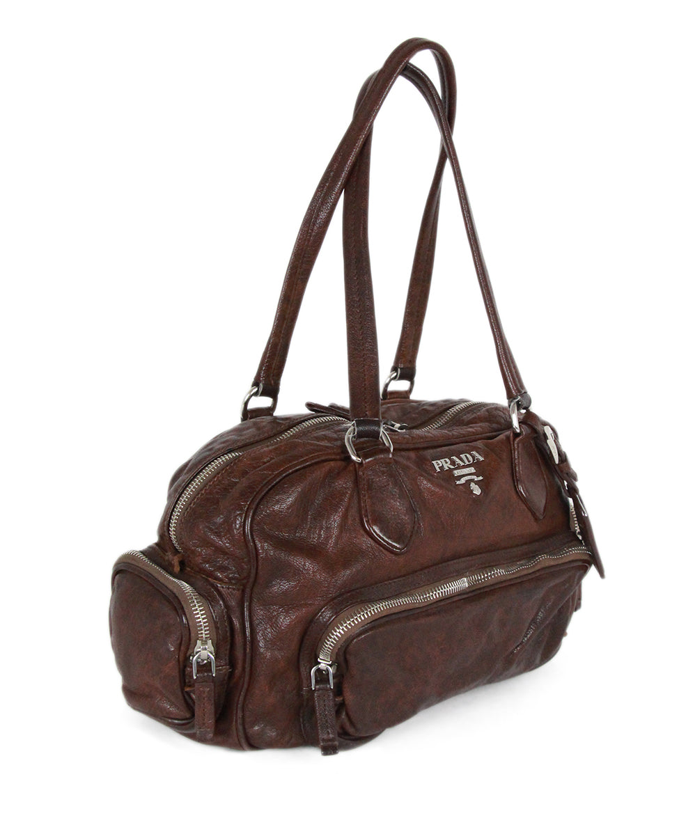 Prada Brown Leather Shoulder Bag Handbag 2