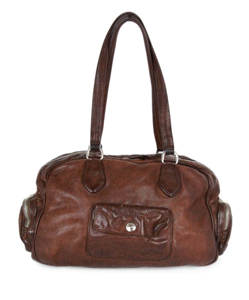 Prada Brown Leather Shoulder Bag Handbag 3