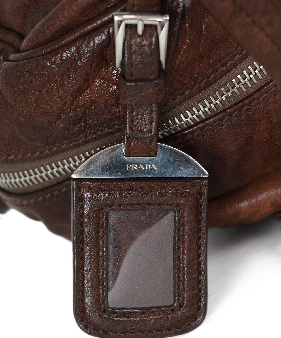 Prada Brown Leather Shoulder Bag Handbag 9