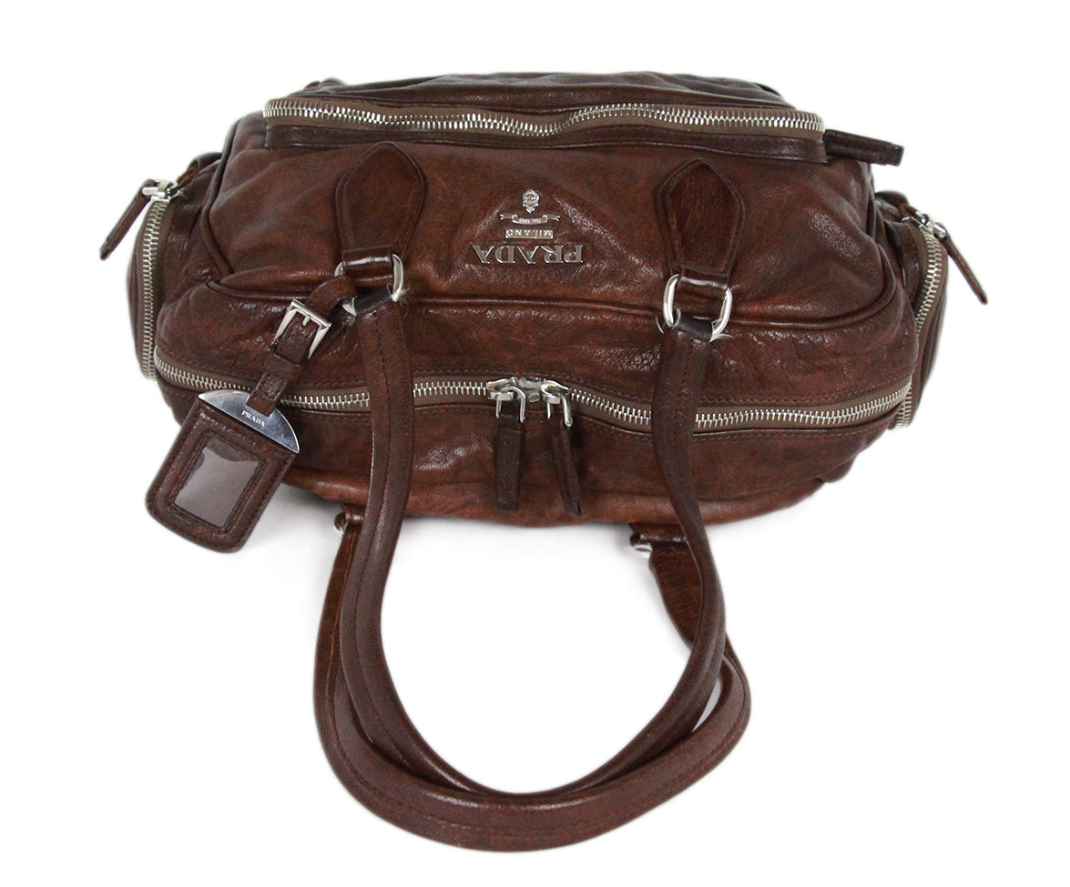 Prada Brown Leather Shoulder Bag Handbag 5