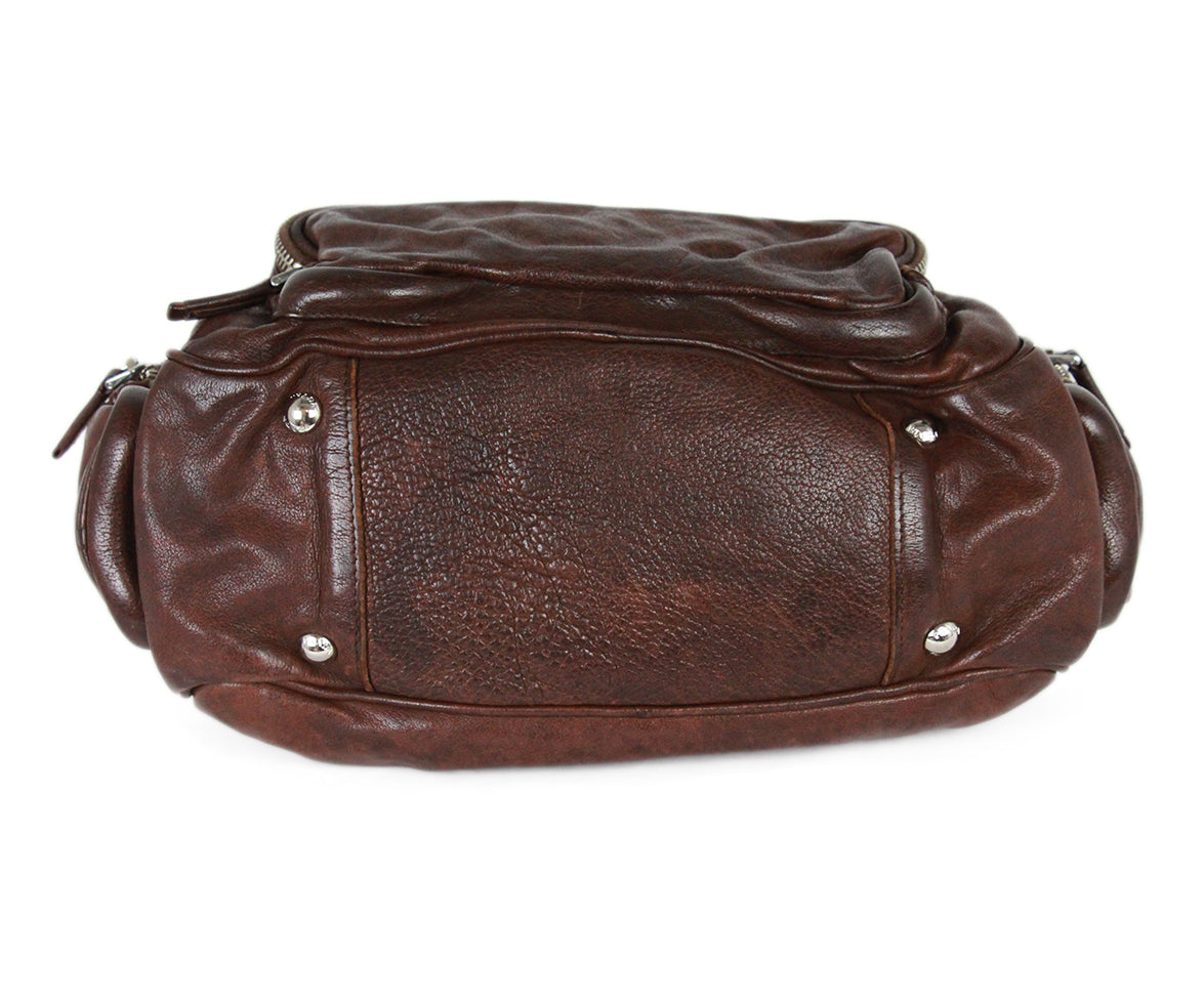 Prada Brown Leather Shoulder Bag Handbag 4