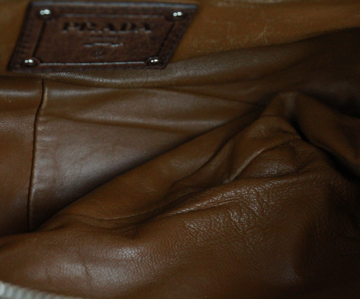 Prada Brown Leather Shoulder Bag Handbag 6