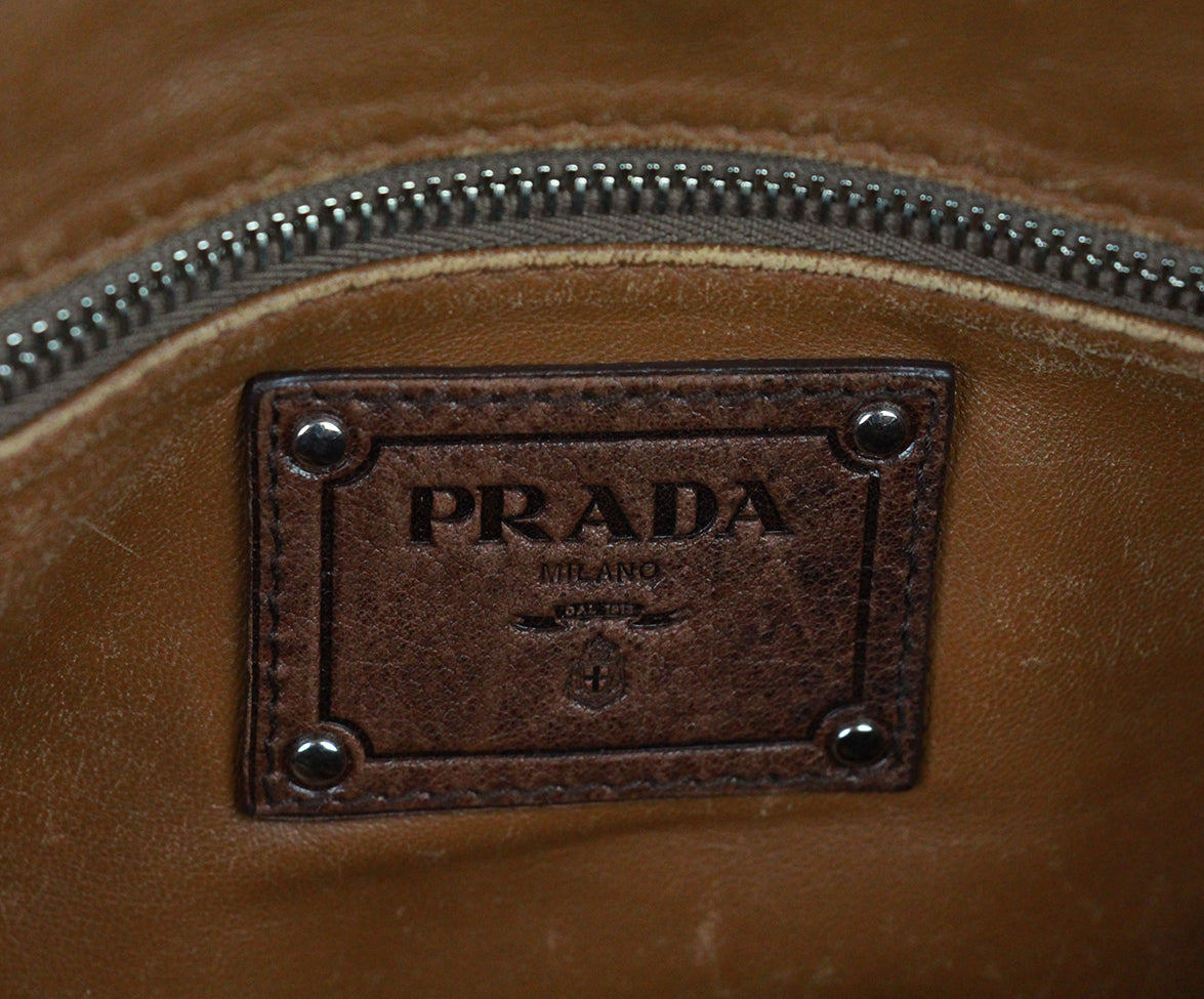 Prada Brown Leather Shoulder Bag Handbag 7
