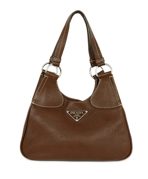 Prada Brown Leather Shoulder Bag Handbag 1