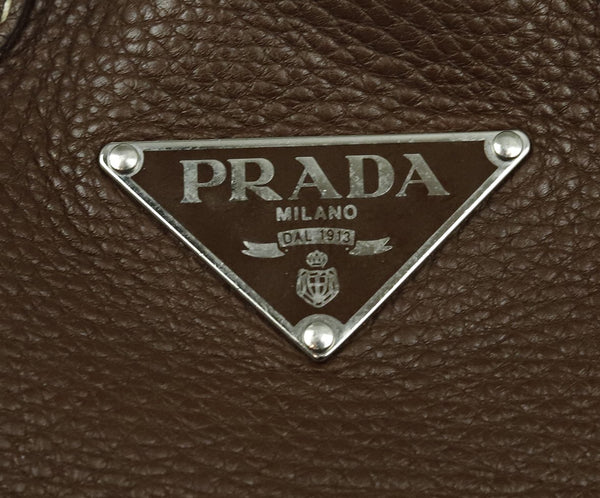 Prada Brown Leather Shoulder Bag Handbag 8
