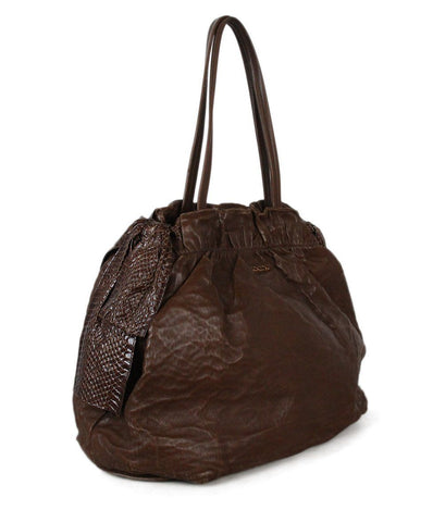 Prada brown leather snake skin trim shoulder bag 1