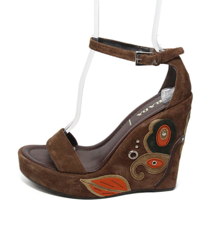 Prada brown suede butterfly wedge sandals 1