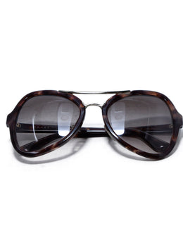 Prada Brown Tortoise Shell with Gold Trim Sunglasses 1
